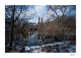 Bow Bridge and The San Remo of Central Park with snow