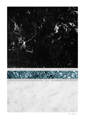 Black and White Marble Ocean Blue Glitter Stripe Glam #1