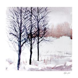 winter lanscape watercolor