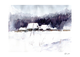 winter landscape with hills and village, watercolor