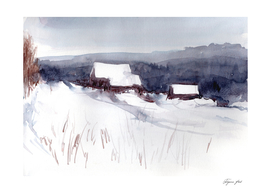 Winter landscape with village on the hill