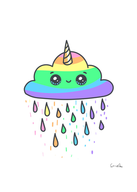 cloud rainbow unicorn rain horn