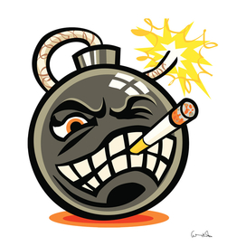 Smoking cartoon evil bomb cartoon