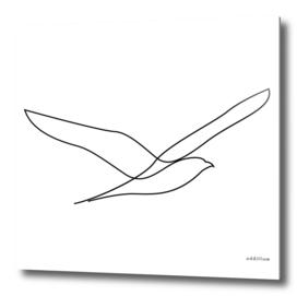 Freedom - single line bird art