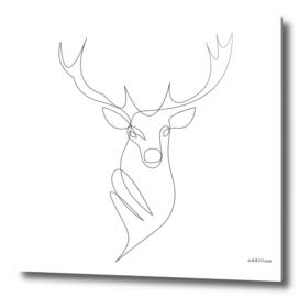 deer - one line art