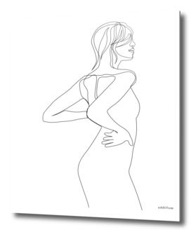 Back - singe line art