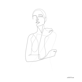 Shy silhouette - single line art