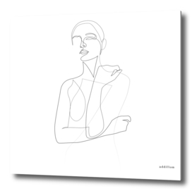 Shy silhouette - single line art