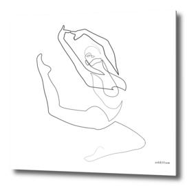 aloft - single line ballerina art
