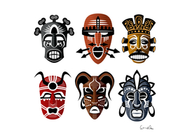 Tribal masks african culture set