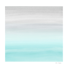 Touching Aqua Blue Gray Watercolor Abstract #1 #painting