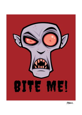 Creepy Vampire Cartoon with Bite Me Text