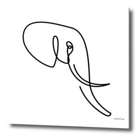 nobility - single line elephant drawing