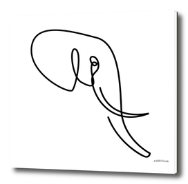 nobility - single line elephant drawing