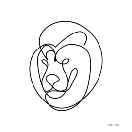 lion - single line drawing