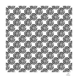 Linocut mandala pattern black on white