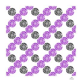 Linocut circle mandala rhombus pattern