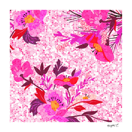 Pink Spring Flowers Mosaic Terrazzo
