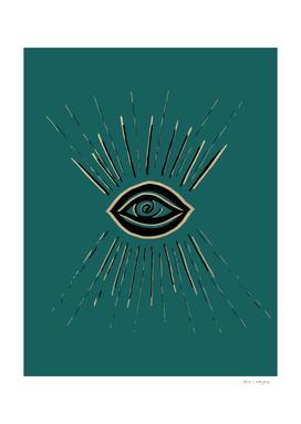 Evil Eye Gold Black on Teal #1 #drawing #decor #art