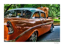 Classic Orange Car in Park