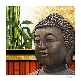 Buddha Head & Bamboo Gold Metallic Collage