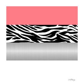 Pink Zebra Metallic White Stripes
