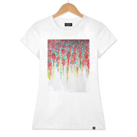 Coral flowers painting, cascading Flowers