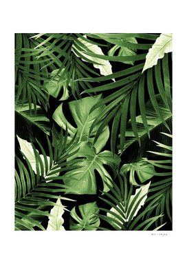 Tropical Jungle Night Leaves Pattern #5 #tropical #decor