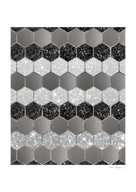 Silver Hexagon Glitter Glam #1 #geometric #decor #art