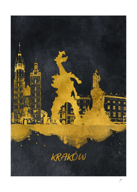 Krakow skyline gold black #cracow