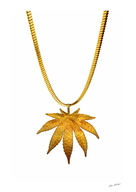 Golden marijuana on white