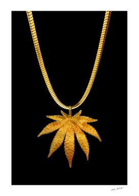 Golden marijuana on black