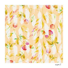 Spring Flowers and Feathers Pattern