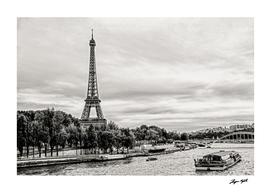 Eiffel Tower in Paris with Seine river