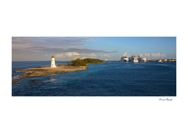Cruise Ships and Lighthouse