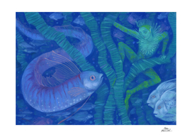 Amphibian and the Fish King, fantasy art, Underwater