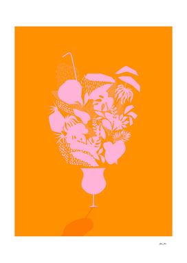 Sunny Tropical Cocktail - Pink and Orange