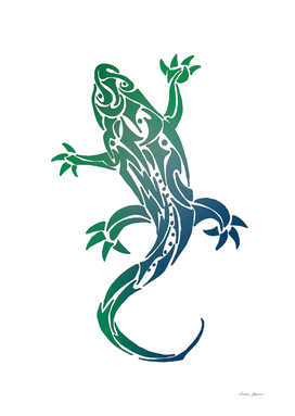 Colorful Gecko Tribal Tattoo