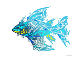 Abstract Blue Tribal Fish Tattoo