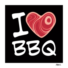 I Love BBQ - White Text Version