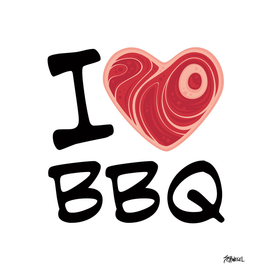 I Love BBQ - Black Text Version