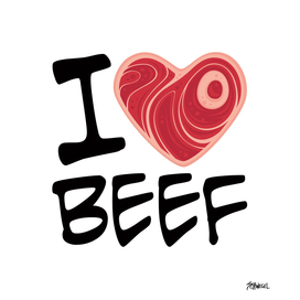 I Love Beef - Black Text Version