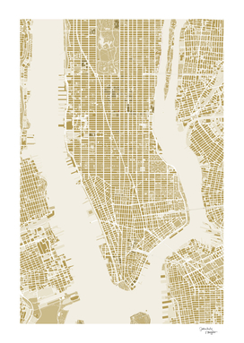 NEW YORK CITY MAP GOLD