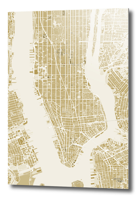 NEW YORK CITY MAP GOLD