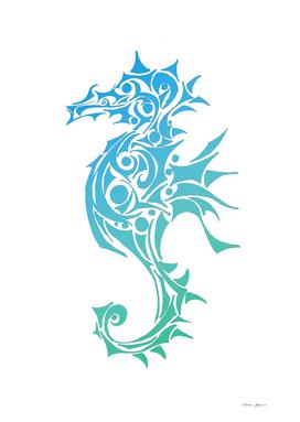 Turquoise Seahorse Tribal Tattoo