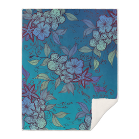 Blue and Turquoise Floral Pattern