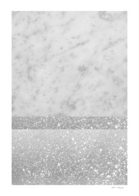 White Marble Silver Gray White Glitter Stripe Glam #1