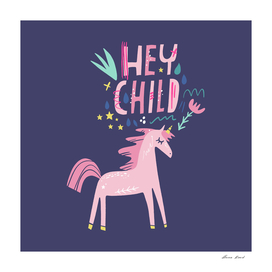 Cute girl unicorn print