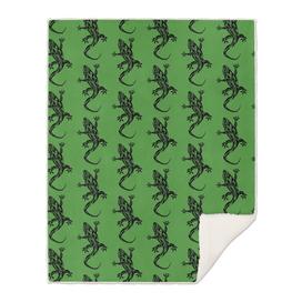 Green Tribal Tattoo Gecko Pattern