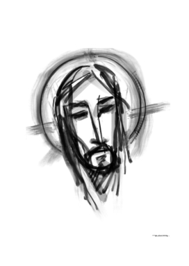 Jesus Christ Face ink digital illustration